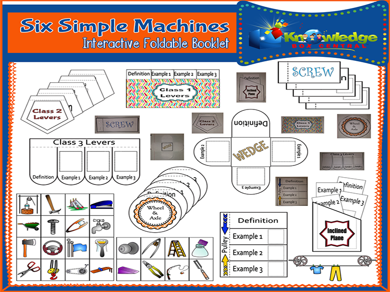 Six Simple Machines Interactive Foldable Booklets