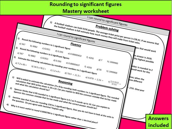 Rounding to significant figures - mastery worksheet
