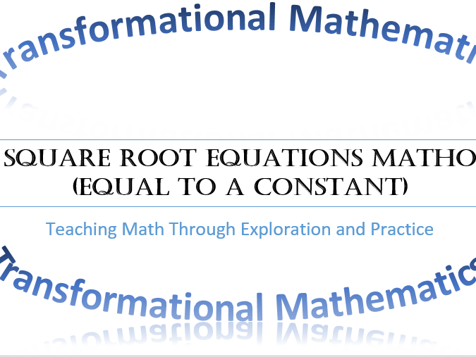 Solve Square Root Equations MATHO