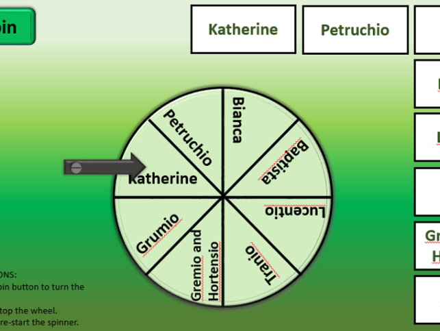 Shakespeare The Taming of the Shrew character spinner revision tool ICT interactive fun