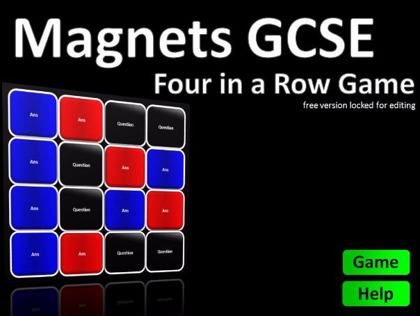 Four in a Row Interactive Quiz Game: GCSE Magnets FREE PHYSICS FUN