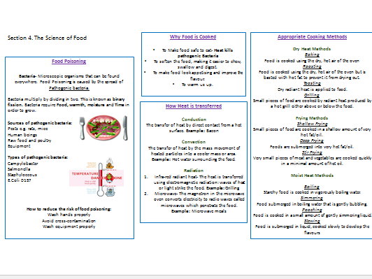 GCSE (Year 10) Knowledge Organisers and Nutrient Revision Activities