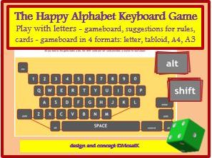 literacy, any subject, spelling game, board game using the QWERTY keyboard