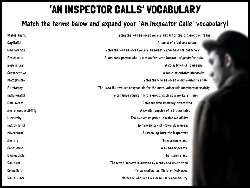 'An Inspector Calls' vocabulary match-up