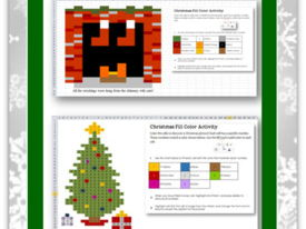 Christmas Fill Color Activities for GOOGLE Sheets and MS Excel—Grades 3-8
