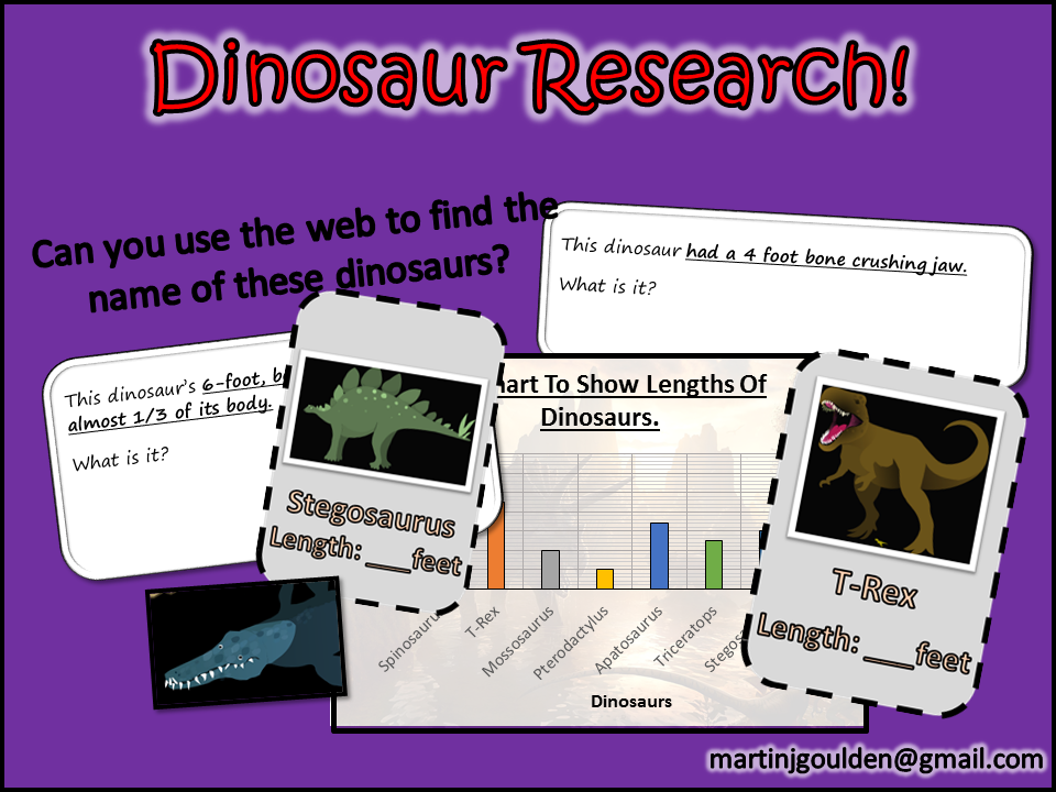 Dinosaurs - Computing Research Skills - 4 Lesson mini unit.