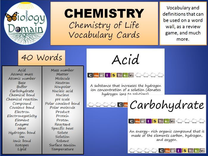 Chemistry of Life Vocabulary Cards