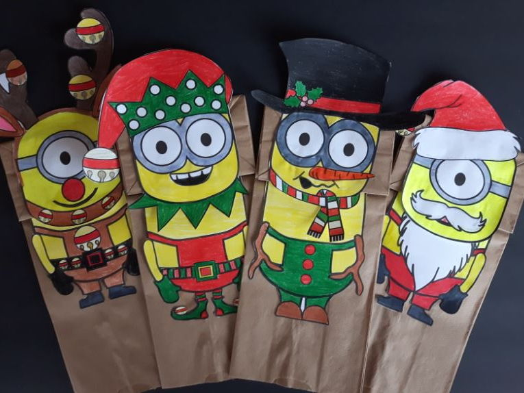 Minions Paper Bag Puppets - Christmas Version