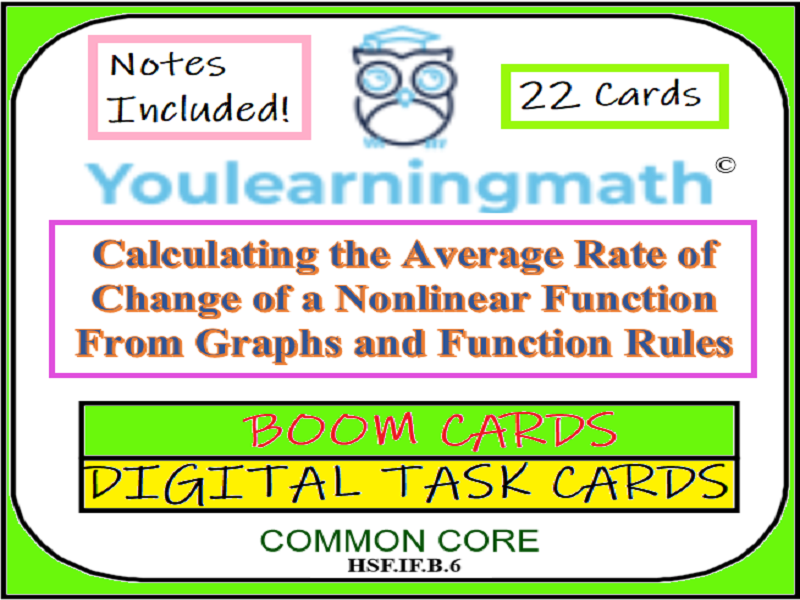 Calculating the Average Rate of Change: DIGITAL BOOM Cards (+20 Printable Task Cards)