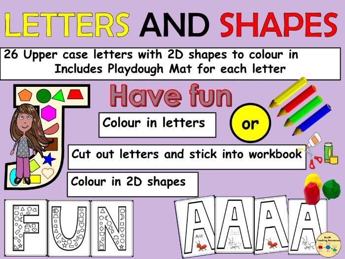 Alphabet Uppercase Letters and 2D Shapes Link Worksheet/Activities Alphabet Playdough Mats
