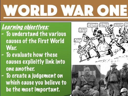 Causes of World War One - PPT - Activities included - MAINS