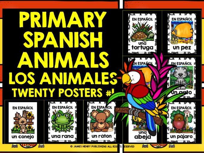 PRIMARY SPANISH ANIMALS POSTERS