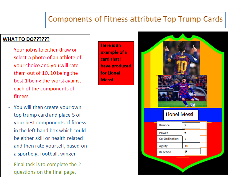 PE home learning- Top trump creation COF