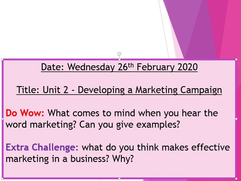 BTEC National Unit 2 - Principles of Marketing lesson pack