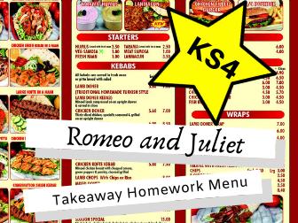 AQA Romeo and Juliet KS4 Takeaway Homework Menu