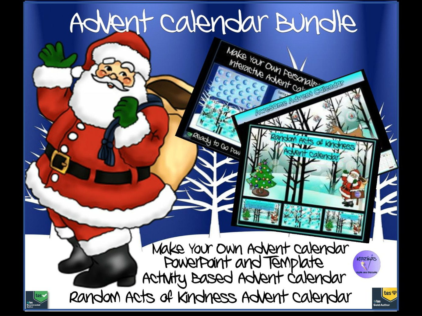 Awesome Advent Calendar Bundle - Random Acts of Kindness, Activity Based Calendar and Make Your Own Calendar Interactive PowerPoint and Template