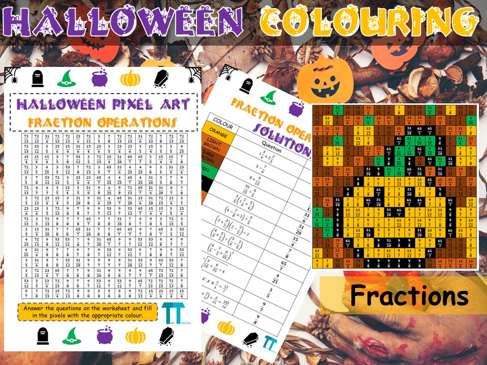 Halloween maths GCSE revision on fractions