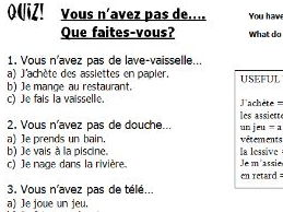 French multi-choice quiz using household items