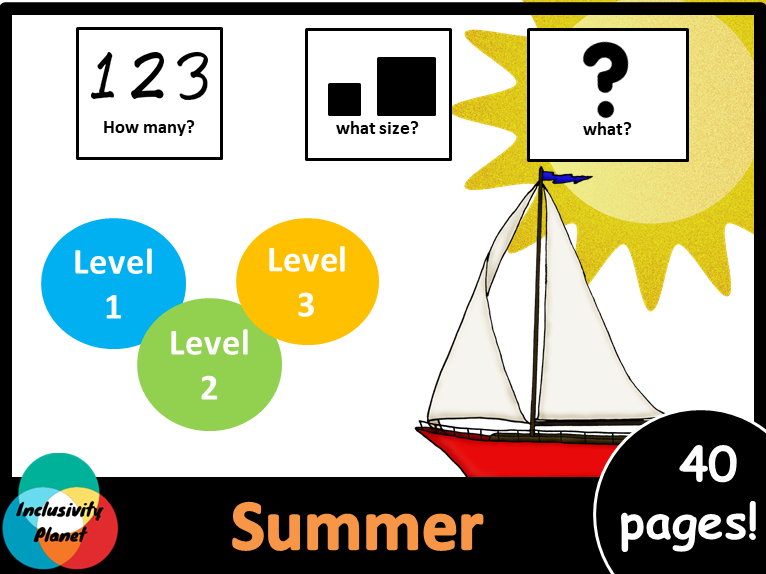 Summer HOW MANY, WHAT SIZE, WHAT? Adapted book Level 1, Level 2 and Level 3