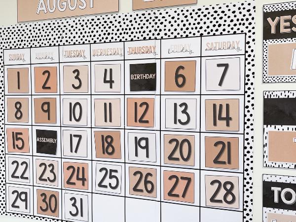 B+W NEUTRALS Classroom Calendar