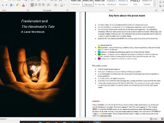 Frankenstein and The Handmaid's Tale A Level Workbook