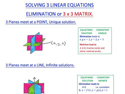 Solving 3 x 3 Equations; elimination & matrices summary sheet.