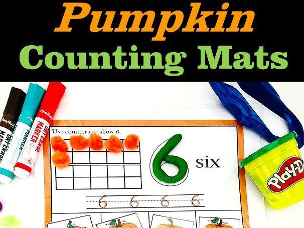 Pumpkin Number Play dough Mats with Ten Frames (0-20)   Math Center   October