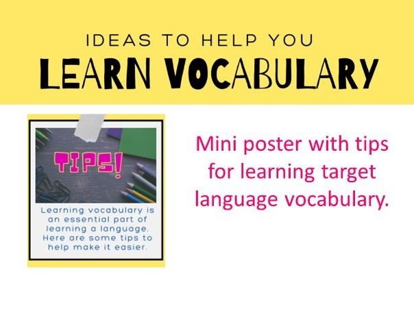 Learning vocabulary tips mini poster