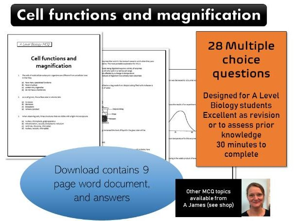 A Level Biology Cell functions and Magnification MCQ