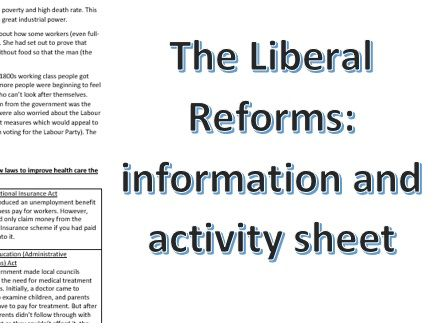 The Liberal Reforms Information and Activity sheet