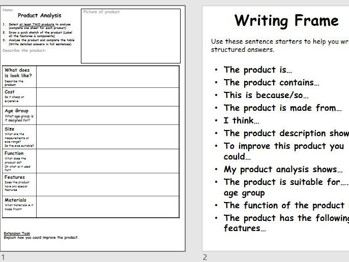Generic Product Analysis Proforma Worksheet / Task - 1 Hour Lesson - writing frame- Research - KS3/4