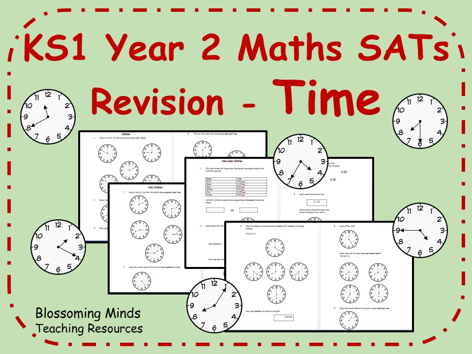 KS1 Year 2 Maths SATs - Time Revision - Differentiated Levels