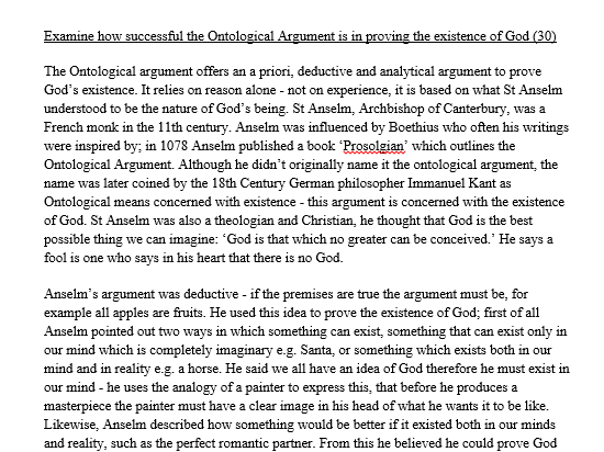 part b the ontological argument is By: elias moon introduction the ontological argument attempts to prove god's existence a priori this argument claims to deduce the existence of god from its own conceptual definition the classical version of the ontological argument, first set forth by st anselm (1033.