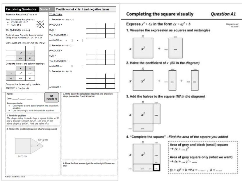Factorising quadratics | Solving quadratic equations | Completing the square