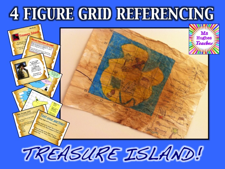 Pirate Treasure Island - 4 Figure Grid Referencing Geography