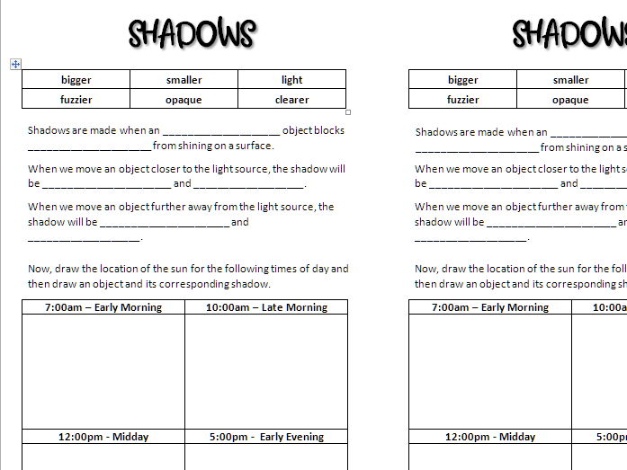 Shadows and What Changes Them Worksheet