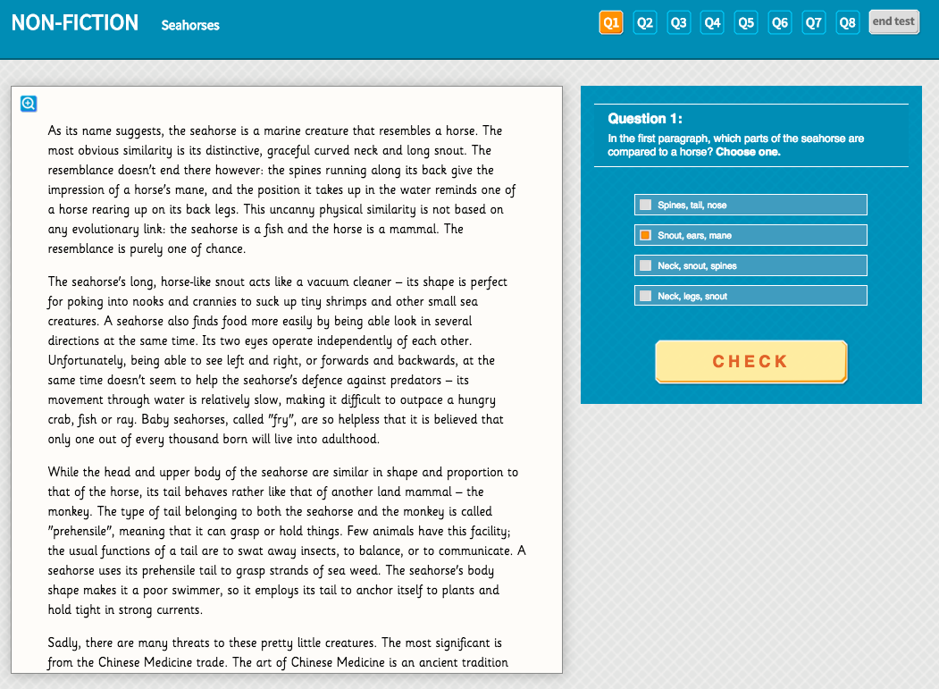Seahorses -Interactive Exercise - Year 5 Reading Comprehension (Non-fiction)