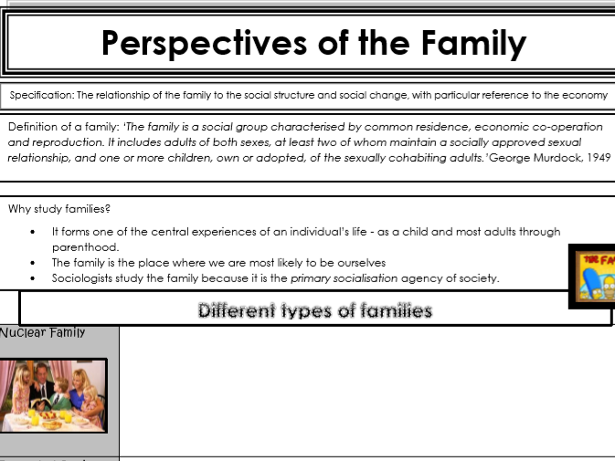 AQA Sociology Year 1 - Families & Households - Perspectives of the Family
