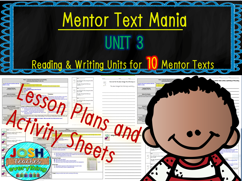 Read Aloud Lesson Plan and Activities Bundle (Mentor Text Mania Unit 3)