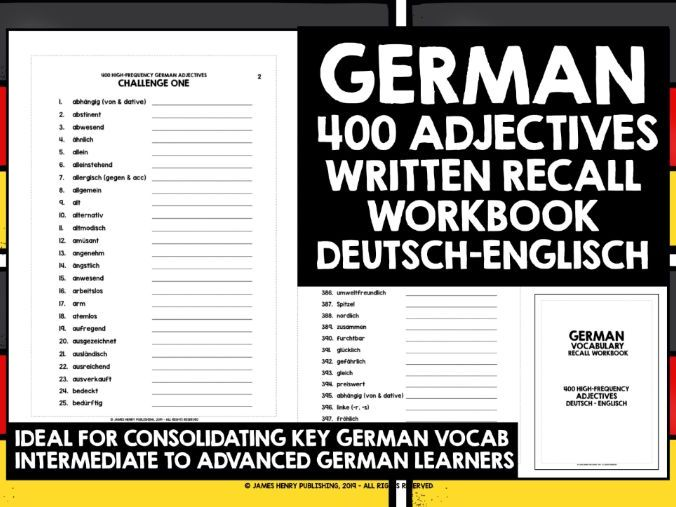 GERMAN ADJECTIVES RECALL WORKBOOK #2