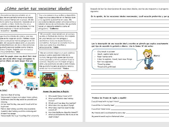 GCSE Spanish: Ideal holidays worksheet