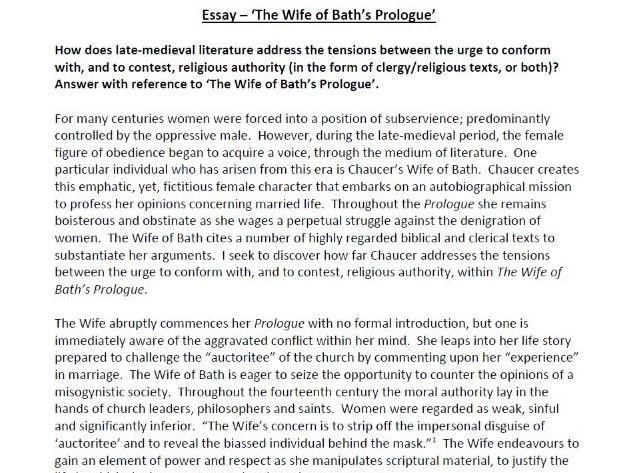 'The Wife of Bath's Prologue' Essay