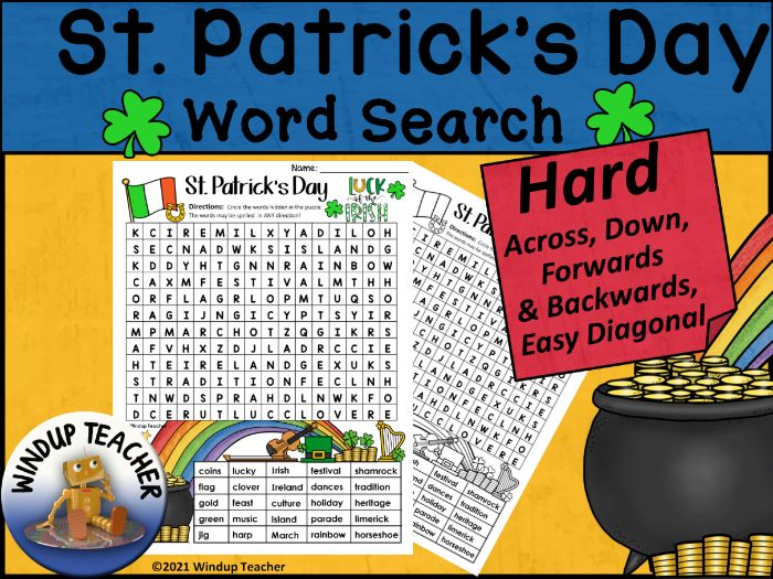 St. Patrick's Day Word Search | HARD
