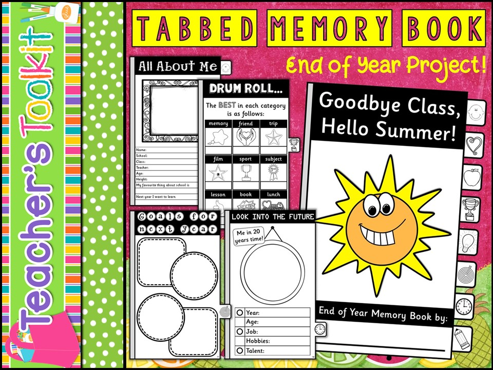 Tabbed Memory Book End of Year Activity