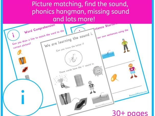 'i' Sound Phonics Bundle | Phonics Resources | Phonics Worksheets | CVC Words