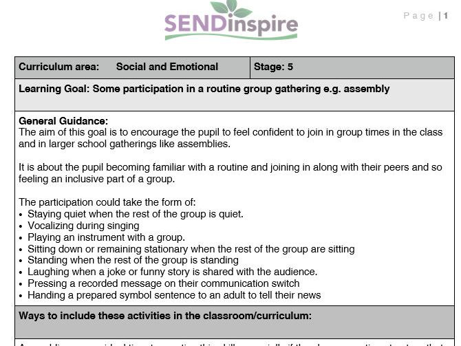 SEND early participation in a routine or group gathering such as assembly