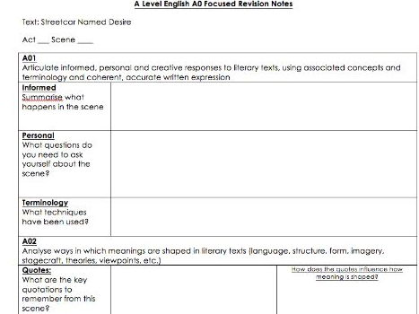 A-level Assessment Objective  Focuses Revision Worksheet