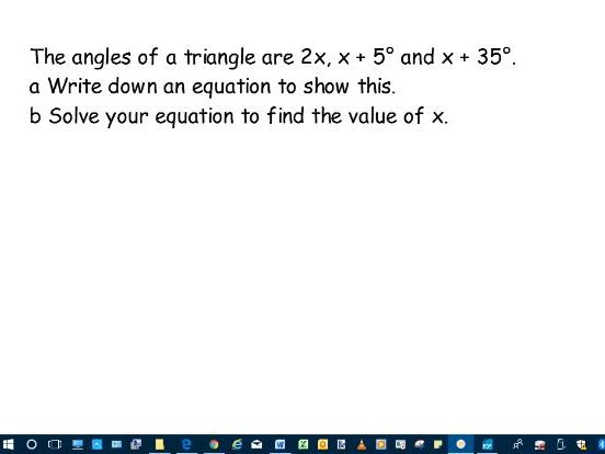Lesson slides- Set up and solve simple linear equations