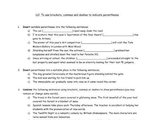 FREE Year 6 - Parentheses Worksheet