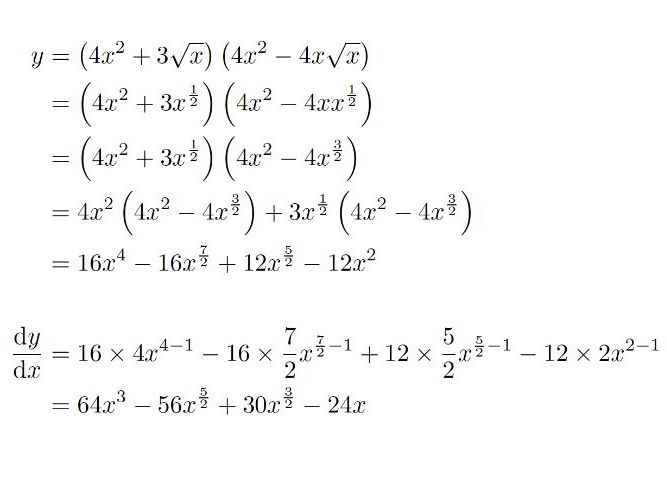 Differentiation questions - sum of powers of x and surds with expand